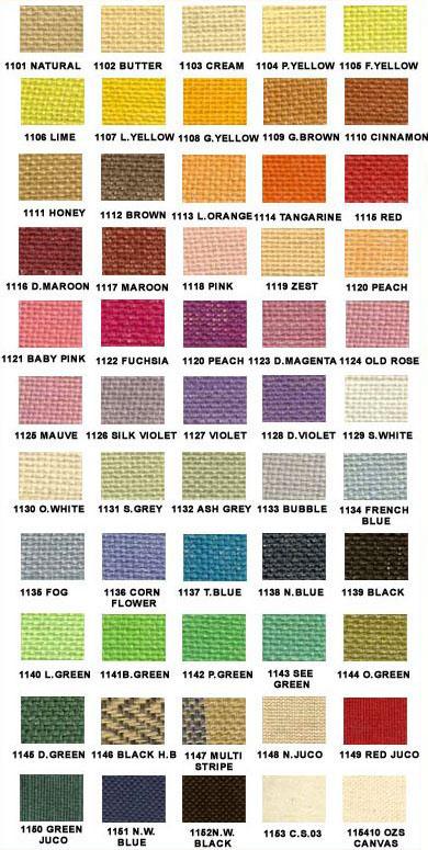 Palette de coloris des toiles de jute des sacs promotionnels écologiques