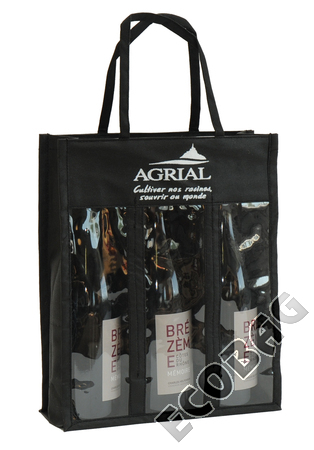 Sales of Non-woven bag with 3 bottles window